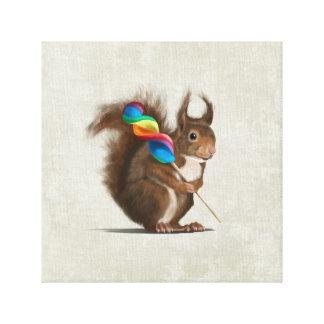 Funny squirrel with big lollipop canvas print