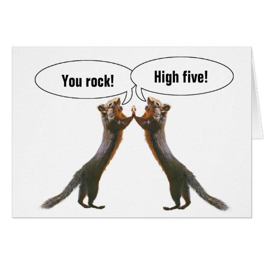 Funny Squirrels High Five Card