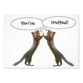 Funny Squirrels High Five Customizable Invitations