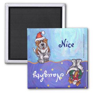 Funny St Bernard Dog Naughty Nice Holiday Magnet