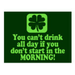 Funny St Paddys Drinking Humor Post Cards