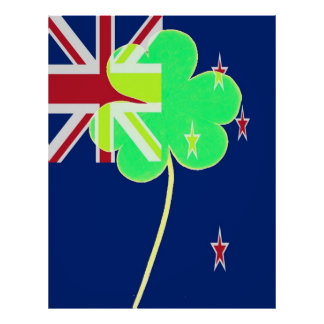 Funny St. Patrick Flag New Zealand Irish Shamrock Poster