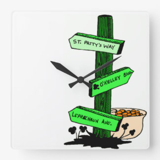 Funny St. Patrick's Day Sign Post Clock