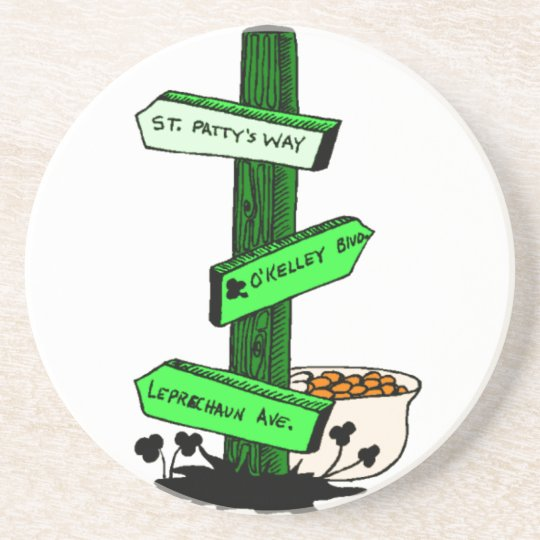 Funny St. Patrick's Day Sign Post Coaster