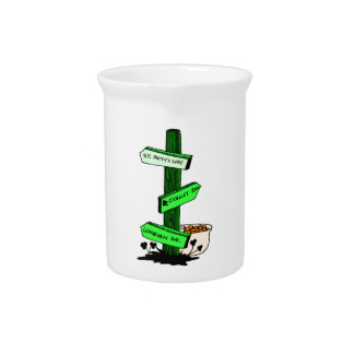 Funny St. Patrick's Day Sign Post Pitcher