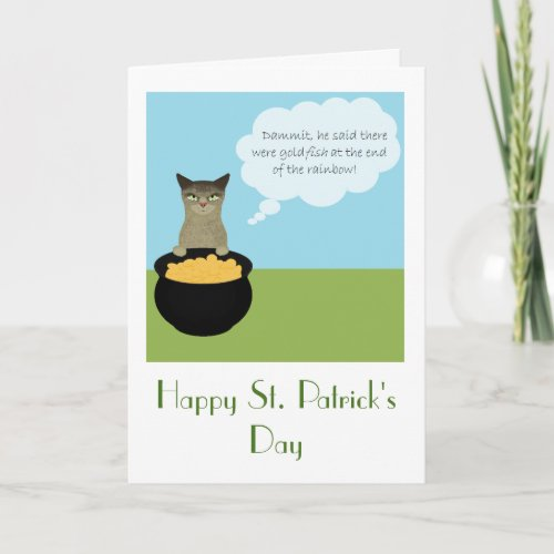 Funny St Patricks Day Card with Cat