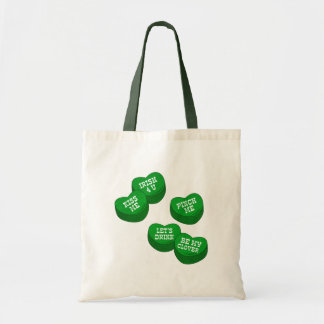 Funny St Patricks day Conversation Hearts Candy Tote Bag