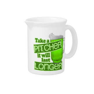 Funny St. Patrick's Day Green Beer Beverage Pitcher