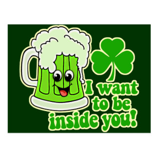 Funny St Patricks Day Green Beer Postcard