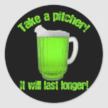 Funny St. Patrick's Day Green Beer Round Sticker