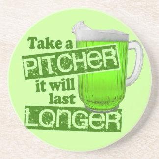 Funny St. Patrick's Day Green Beer Sandstone Coaster