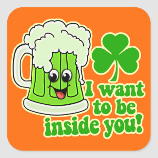 Funny St Patricks Day Green Beer Square Sticker