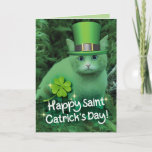 Funny St. Patrick's Day Green Cat With Hat Card
