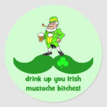 funny St. Patrick's Day mustache Stickers