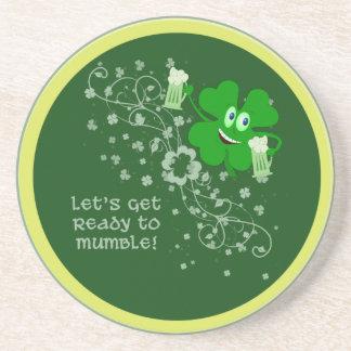 Funny St. Patrick's Day Shamrock Beverage Coasters