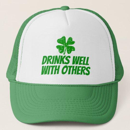 af1dfbfcb2d Funny St Patricks Day trucker hats with shamrock