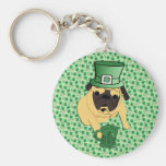 Funny St. Patrick's Irish Pug Basic Round Button Keychain