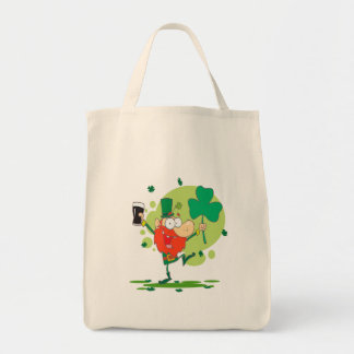 funny st pattys day leprechaun cartoon character grocery tote bag