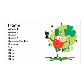 funny st pattys day leprechaun cartoon character business card