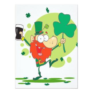 funny st pattys day leprechaun cartoon character custom announcement