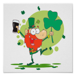 funny st pattys day leprechaun cartoon character poster