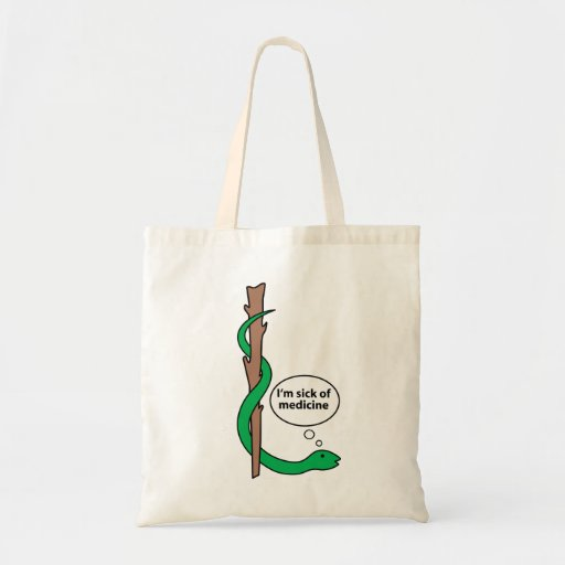 Funny Staff of Asclepius Budget Tote Bag