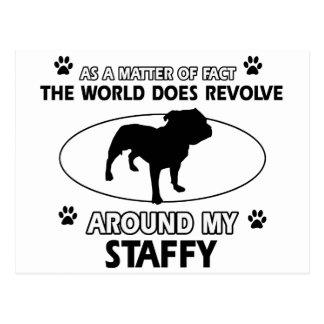 Funny staffy designs post card