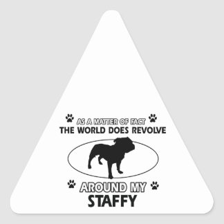 Funny staffy designs triangle sticker