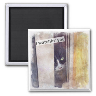 Funny Stalker kitty 2 Inch Square Magnet