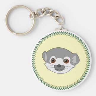 Funny staring baby lemur basic round button keychain