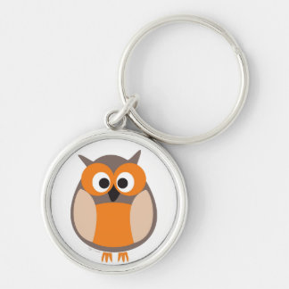 Funny staring cartoon owl keychain