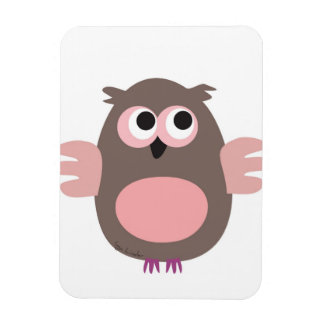 Funny staring cartoon owl magnet
