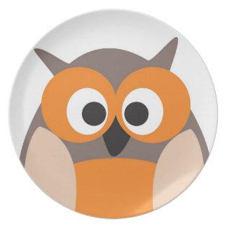 Funny staring cartoon owl plate