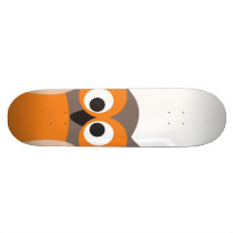 Funny staring cartoon owl skateboard