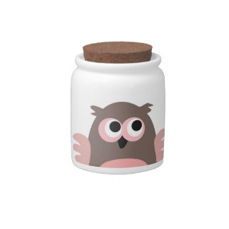Funny staring owl cartoon candy jar