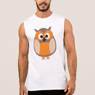 Funny staring owl cartoon tank top t-shirt
