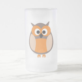 Funny staring owl frosted glass beer mug