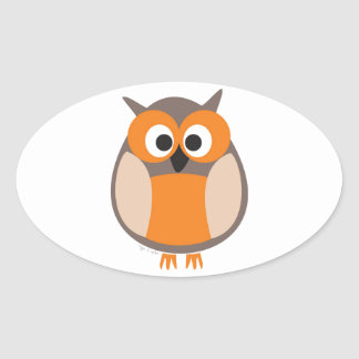 Funny staring owl oval sticker