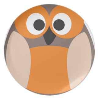 Funny staring owl plate