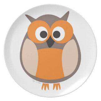 Funny staring owl dinner plate