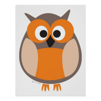Funny staring owl poster