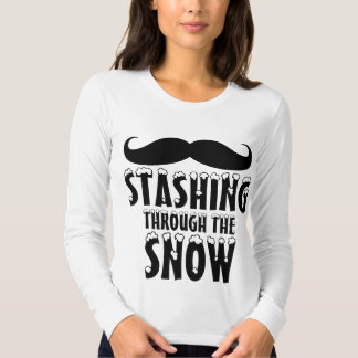 Funny Stashing Through the Snow Jersey Long Sleeve Tee Shirt