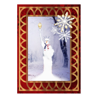 Funny statue of Liberty snowman Christmas Large Business Card
