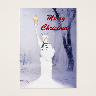 Funny statue of Liberty snowman Christmas tag