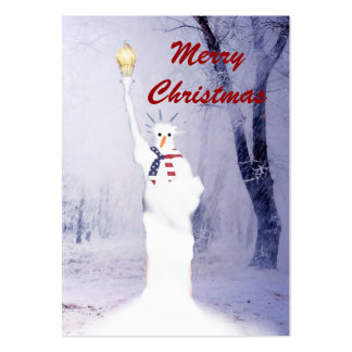 Funny statue of Liberty snowman Christmas tag Large Business Card