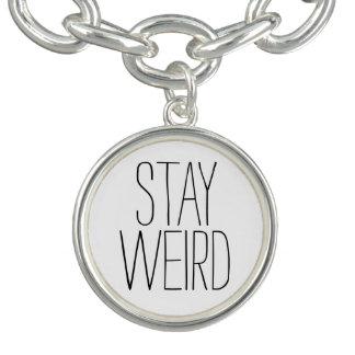 Funny stay weird black white trendy hipster humor charm bracelet