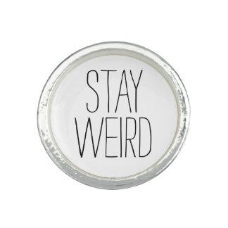 Funny stay weird black white trendy hipster humor rings