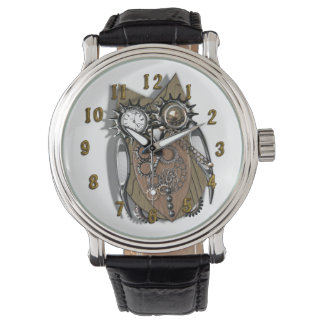 Funny Steam Punk Owl Design Wristwatches