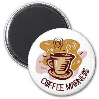 "Funny steaming hot mug saying ""Coffee Madness""! Fridge Magnet"