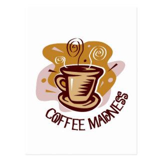 "Funny steaming hot mug saying ""Coffee Madness""! Postcard"